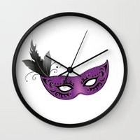 mask Wall Clocks featuring mask by Li-Bro