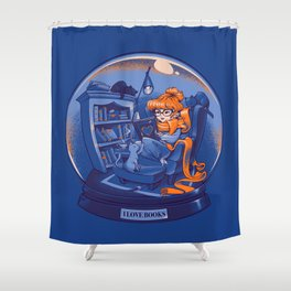 I Love Books and Cats Shower Curtain