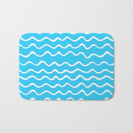 Simple aqua and white handrawn waves - for your summer on #Society6 Bath Mat