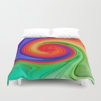 ying yang Duvet Covers featuring Ying Yang Rainbow Swirl Background by taiche