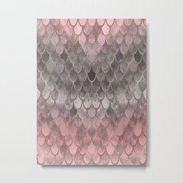 Fall Mermaid Scales Pattern pink silver Metal Print