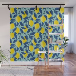 Lemon Tree Bliss in Blue Wall Mural