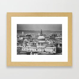 Aerial View of St Paul's Cathedral in Black & White Framed Art Print