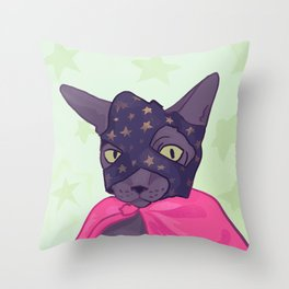 Superhero Cat - Starlord Kitty Wearing a Mask Throw Pillow