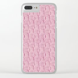 Soft Pink Knit Textured Pattern Clear iPhone Case