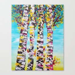 four sisters abstract trees, tree art, trees wall decor, trees bedding Canvas Print
