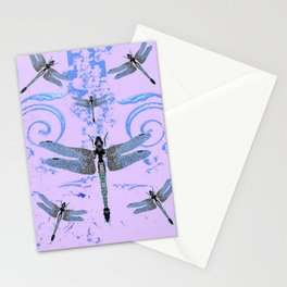 DELICATE BLUE & LILAC DRAGONFLIES ABSTRACT ART Stationery Cards