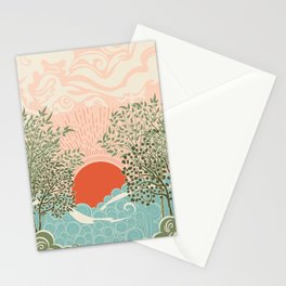 Pink sunrise over sea waves art moderne Stationery Cards