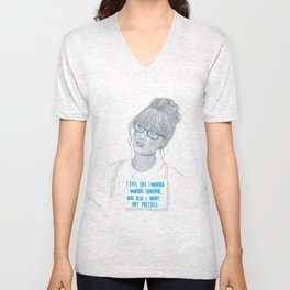 Illustration Zooey Deschanel 'Murder + Pretzels' Unisex V-Neck
