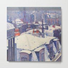 """Gustave Caillebotte """"Vue de toits (Effet de neige) - View of roofs (Snow effect)"""" Metal Print"""