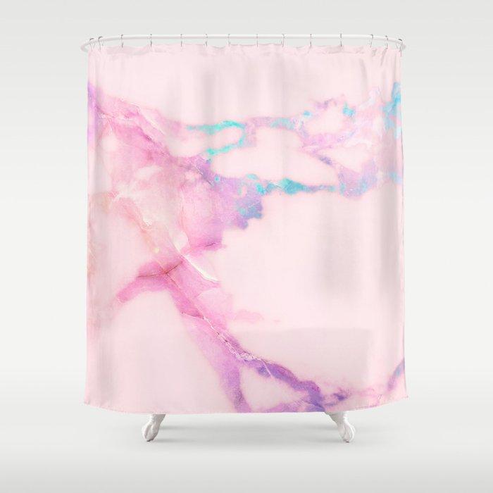 Pink Iridescent Vein Marble Shower Curtain
