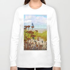 Plaid Beachscape with Dragonflies Long Sleeve T-shirt