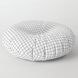 White Grid Black Line Floor Pillow