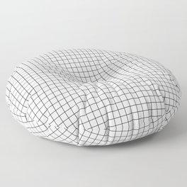 White Grid Black Line Floor Pillow