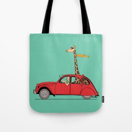 Giraffe 2CV on the wind Tote Bag
