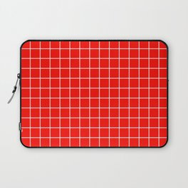 Candy apple red - red color - White Lines Grid Pattern Laptop Sleeve