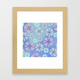 sea urchin blue watercolor Framed Art Print