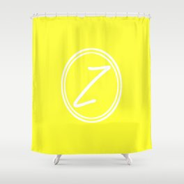 Monogram - Letter Z on Electric Yellow Background Shower Curtain
