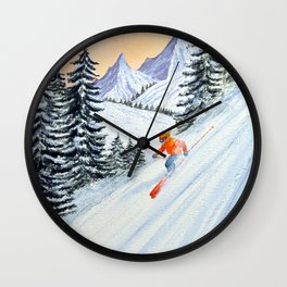 Skiing - The Clear Lady Leader Wall Clock