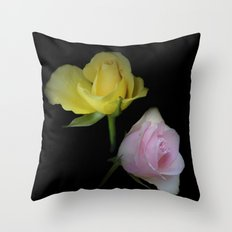 flowers on black - yellow and pink rosebud Throw Pillow