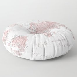 Make memories - Dusty pink and grey watercolor world map, detailed Floor Pillow