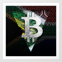 south africa Art Prints featuring bitcoin South Africa by seb mcnulty