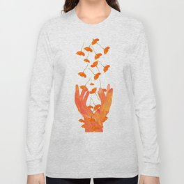 Wonderful Poppy Flowers Orange Coral Color White Background #decor #sociey6 #buyart Long Sleeve T-shirt