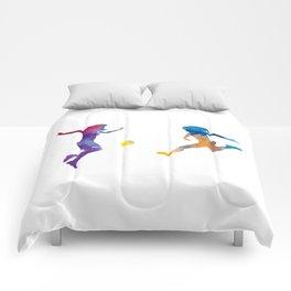 Women soccer players 01 in watercolor Comforters