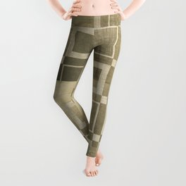 Muted Gold Squares Leggings