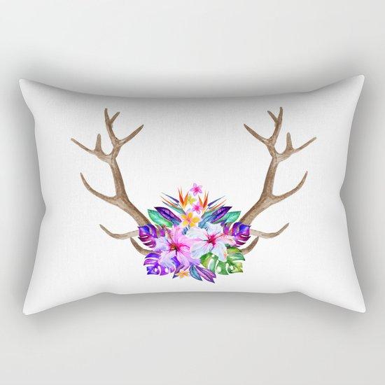 Floral Horn Rectangular Pillow