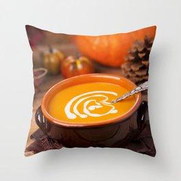 Creamy pumpkin soup on a rustic table Throw Pillow