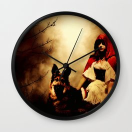 Red and Her Wolf Wall Clock