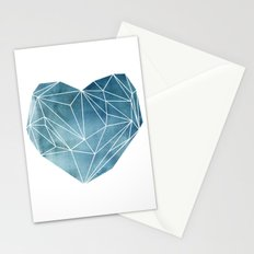 Heart Graphic Watercolor Blue Stationery Cards