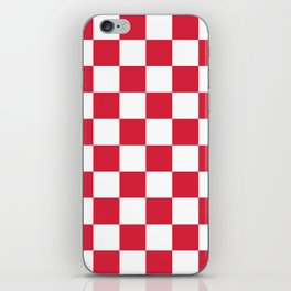 Red, Cherry: Checkered Pattern iPhone Skin