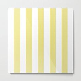 Light khaki beige - solid color - white vertical lines pattern Metal Print