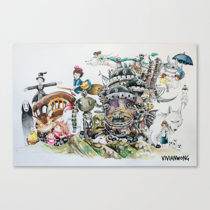 Studio Ghibli Ultimate Watercolour Painting (with all the characters and movies) Leinwanddruck