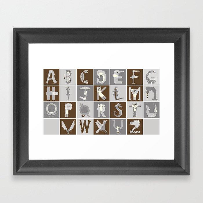 Neutral Horizontal Animal Alphabet (Complete Poster) Framed Art Print