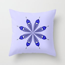 Silver and Blue Flower Throw Pillow