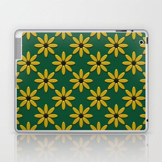 Yellow Flowers on Green Field Laptop & iPad Skin