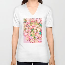 Cactus Fall - Pink and Green Unisex V-Neck