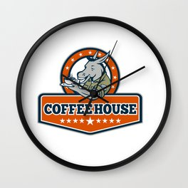 Army Sergeant Donkey Coffee House Cartoon Wall Clock