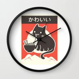 Vintage Style Japenese Ramen Cat Wall Clock
