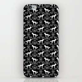 Chinese Crested silhouettes florals pet gifts unique dog breeds art black and white iPhone Skin