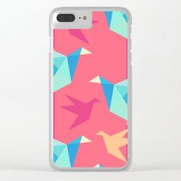 Vivid Pink Paper Cranes Clear iPhone Case