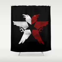infamous Shower Curtains featuring Infamous: Second Son - Jacket Bird Logo (Distressed) by Dsavage94
