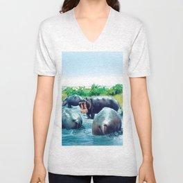 hippos Unisex V-Neck