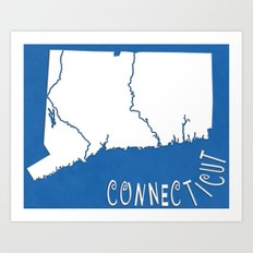 Connecticut State Map Art Print