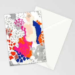 Mica - Abstract painting in modern fresh colors navy, orange, pink, cream, white, and gold Stationery Cards