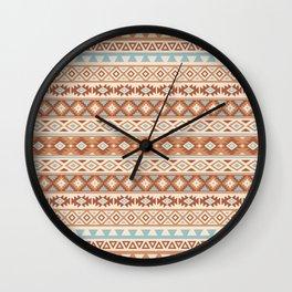 Aztec Stylized Pattern Blue Cream Terracottas Wall Clock