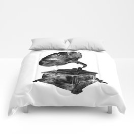 GRAMOPHONE, black and white Comforters